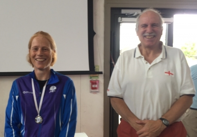 Alison presented with silver medal by SEOA Chairman Simon Greenwood, Source:Brendon Howe